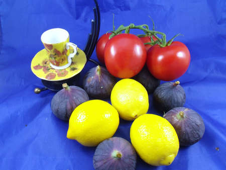 fruits composition on blue background photo