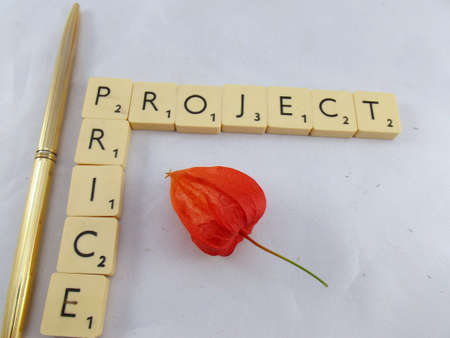 word 'price'and 'project',flower,gold pen on white photo