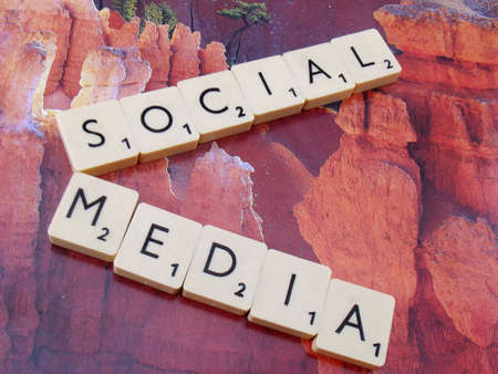 word social,media,on abstract background Stock Photo - 15581948