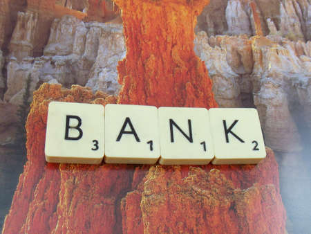 word bank on abstract background photo