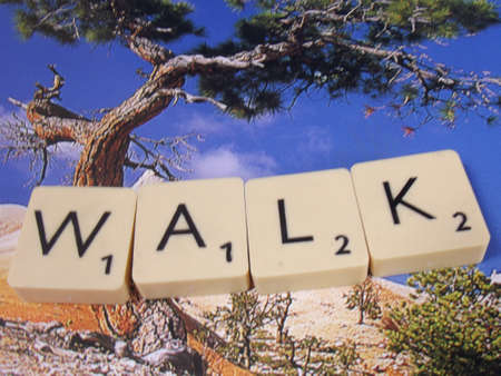 word walk on abstract background photo