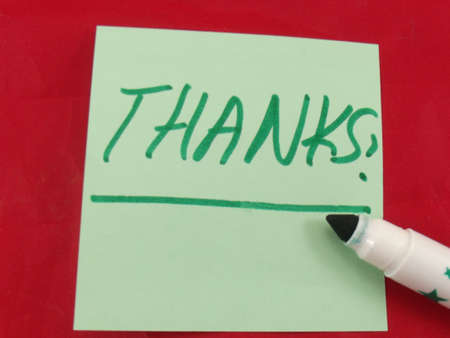 word thanks on red background Stock Photo