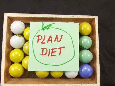 word plan diet i the frame on black background
