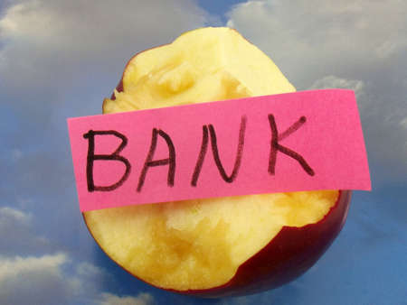 pooled: word bank and apple on abstract background