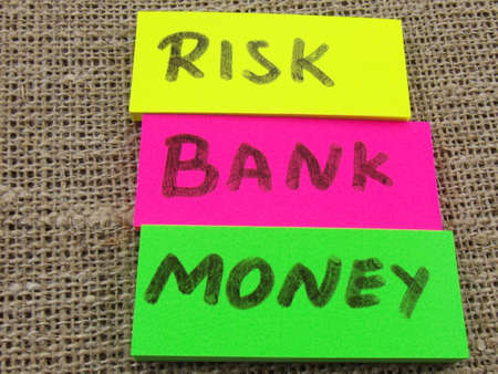 interst: word risk,bank ,money  on abstract background