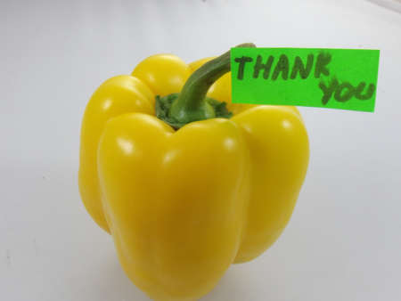word thank youand yellow pepper photo