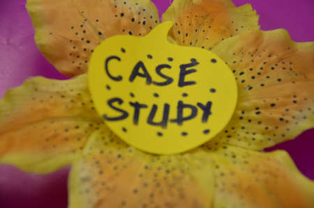 causation: word case study on a purpure background Stock Photo