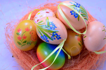 EASTER EGGS ON BLUE photo