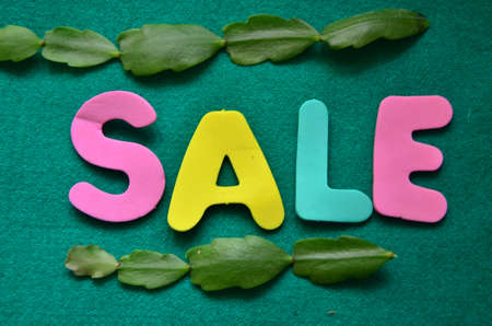 word sale on a green background Stock Photo - 18787063