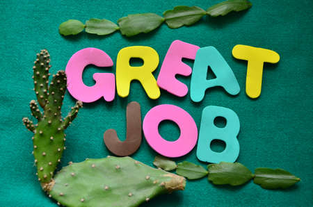 word great job on green background photo