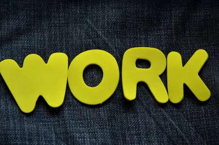 obligations: word work on a denim