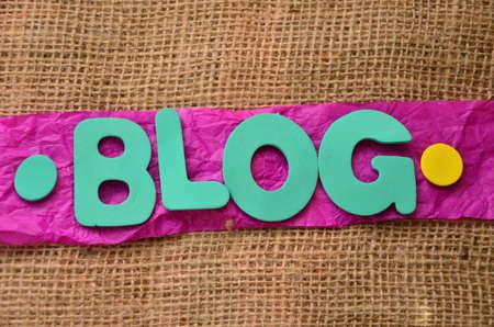 word blog on aburlap background photo