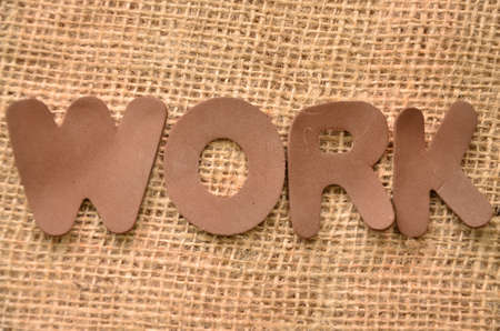 word work on a burlap background photo