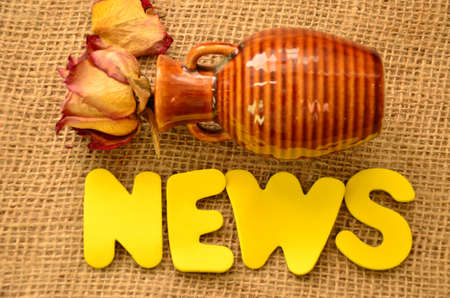 word news on a burlap photo