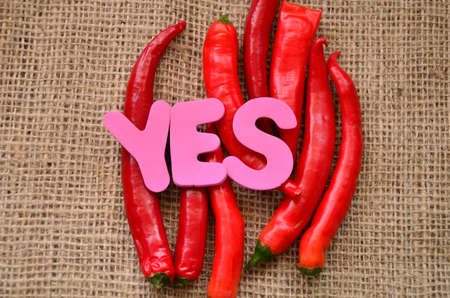 of ratification: word yes and chili on a burlap
