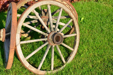 antique wooden wagon wheel photo