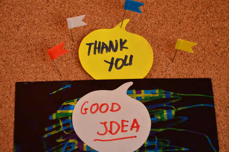 open minded: word thank you ,good idea Stock Photo