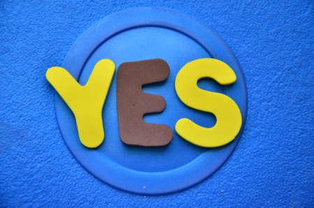 of ratification: word yes Stock Photo