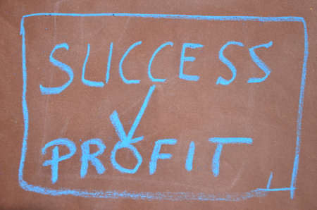 success,profit written in chalk  photo
