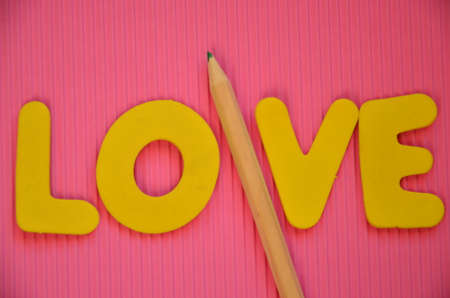 WORD LOVE ON A PINK photo