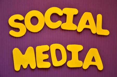 word social media on a purpure photo