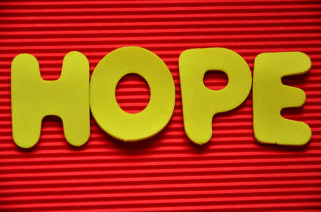 word hope on a red photo