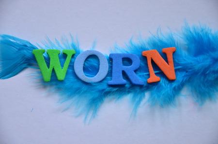 worn: WORD WORN Stock Photo