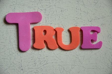 validez: verdadera palabra Foto de archivo