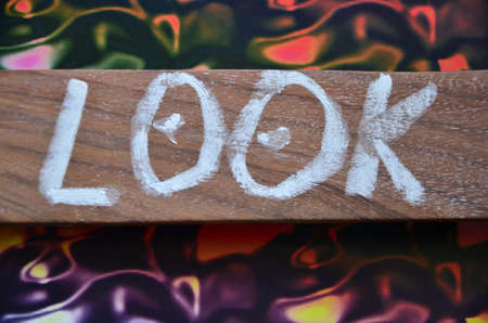 look at: look word Stock Photo