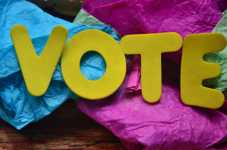voting booth: word vote