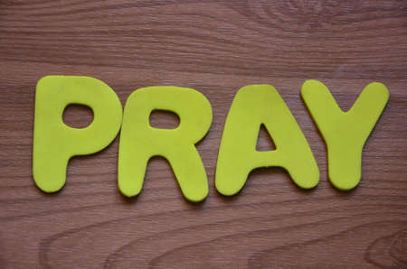to word: pray word Stock Photo