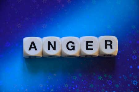 prinitng block: ANGER WORD Stock Photo