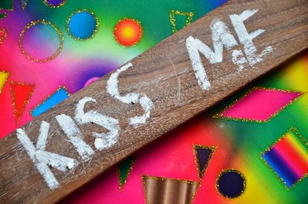 kiss me word Stock Photo