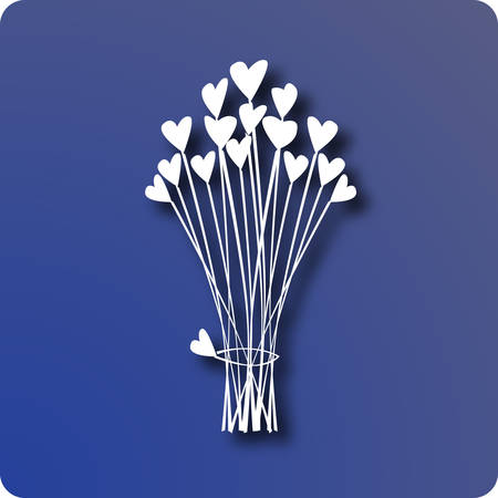 thanx: Bouquet of hearts on blue Illustration