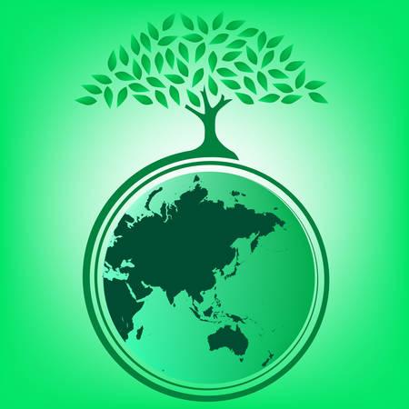 madre tierra: Grandes �rboles para proporcionar sombra de la Tierra  Vectores