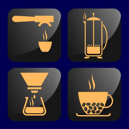 café iconos  Ilustración de vector