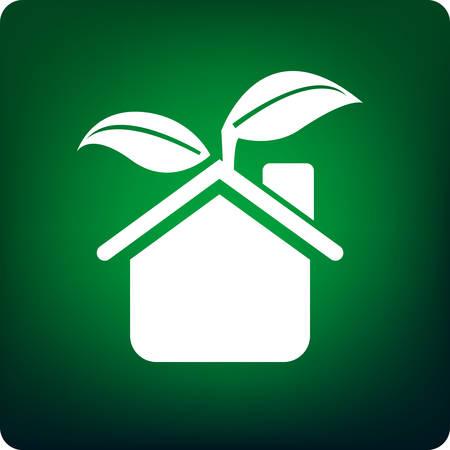 kassen: groene huis Stock Illustratie