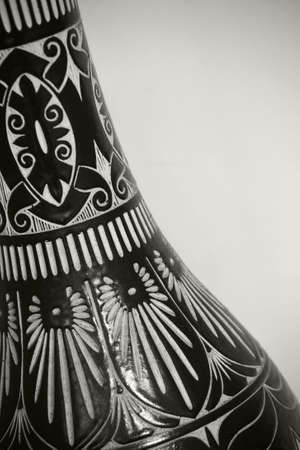 Detail of carved pottery of Sarawak tribes, Malaysia.