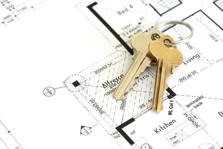 House plan with golden keys. Stock Photo - 5738128