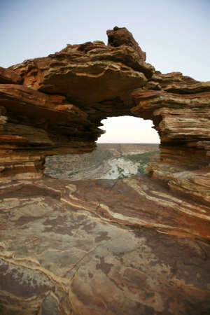 Natures window, a natural phenomenon where the Murchison River is framed in the rock formation in Kalbarri National Park, Western Australia.