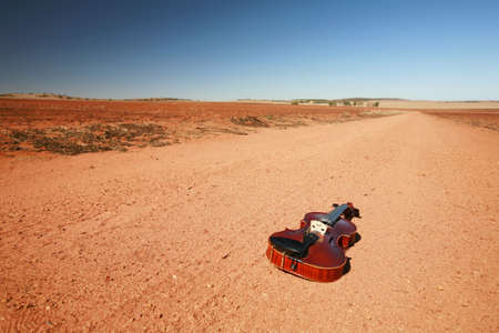 fiddles: Solo fiddle, lying on the outback of Western Australia.