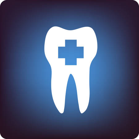 orthodontic: A tooth with healthcare sign in it on blue background Illustration