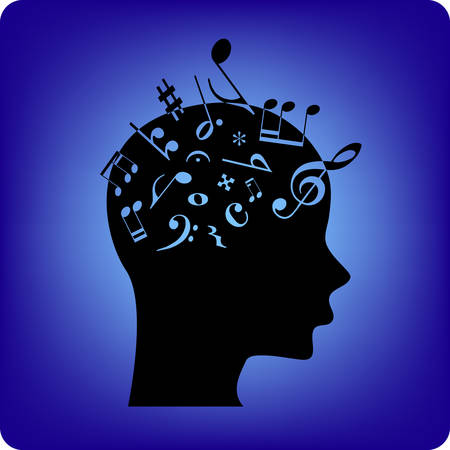 musical notation: Musical notes spilling out from the brain. Musical notes are fonts from free database. Illustration