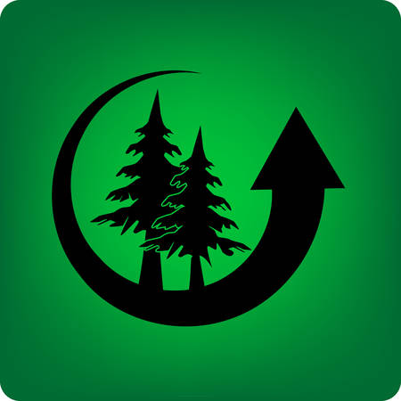 conifer: Conifer forest inside a recycling arrow on green background.