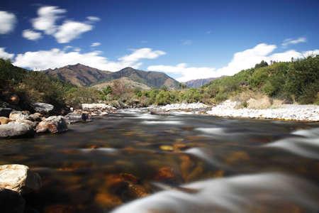 Mountain scenics, wilderness scene in central Bhutan. I love long exposures! Stock Photo