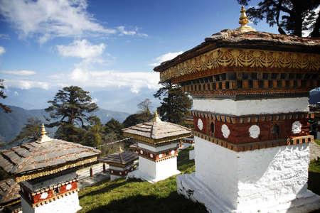 stupas: 108 stupas overlooking the Himalayas in Bhutan Stock Photo