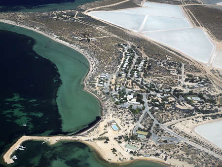 sand shark: This is the Useless Loop township, of Western Australia - aerial view. It is a salt mining area. Stock Photo