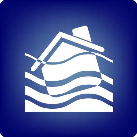 catastrophe: Une maison �tant noy�e sur fond bleu Illustration