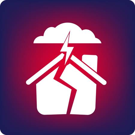 storm damage: House being cracked by storm and lightning