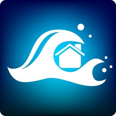 catastrophe: �normes vagues submergent une maison sur fond bleu Illustration